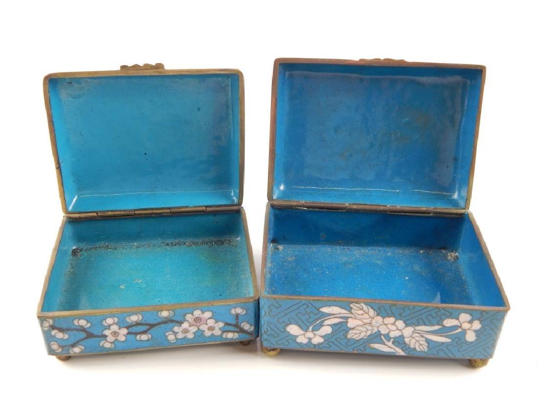 2 VINTAGE CHINESE CLOISONNE ENAMEL FLORAL BOXES - 2