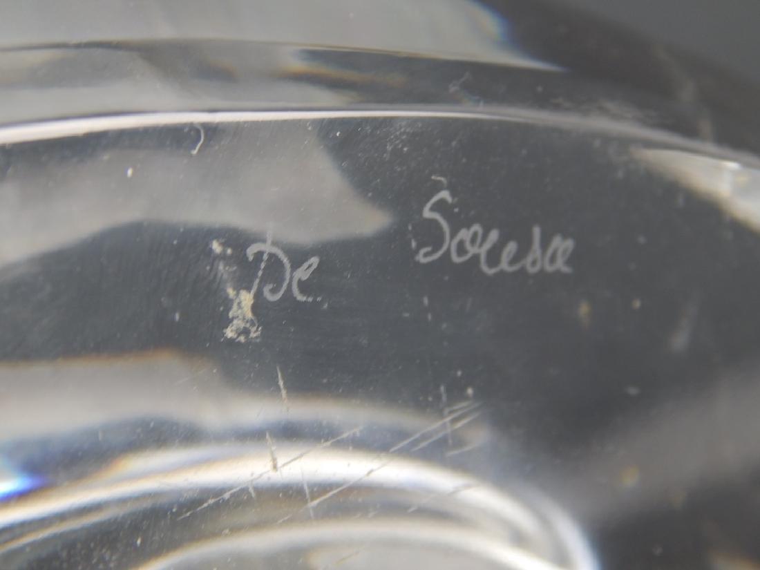VAL ST LAMBERT SOLESCE CLEAR CRYSTAL CAT SCULPTURE - 5