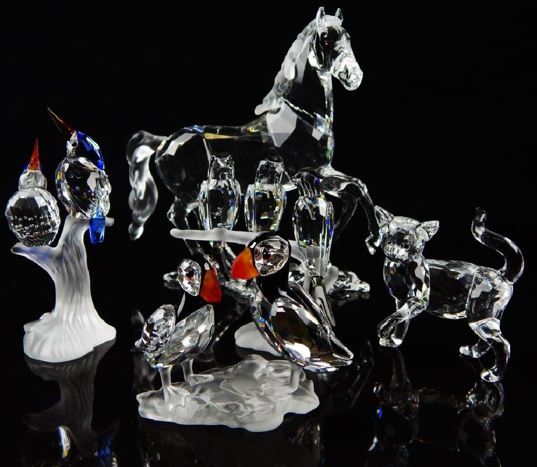 5 SWAROVSKI CRYSTAL ANIMAL SCULPTURES