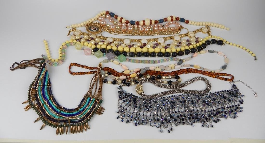15 COSTUME BEADED AND CHAIN NECKLACES SOME SIGNED