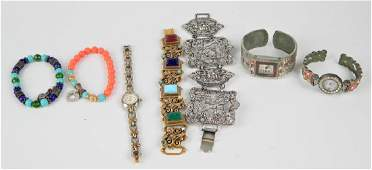 7 VINTAGE COSTUME BRACELET AND WATCH ITEMS