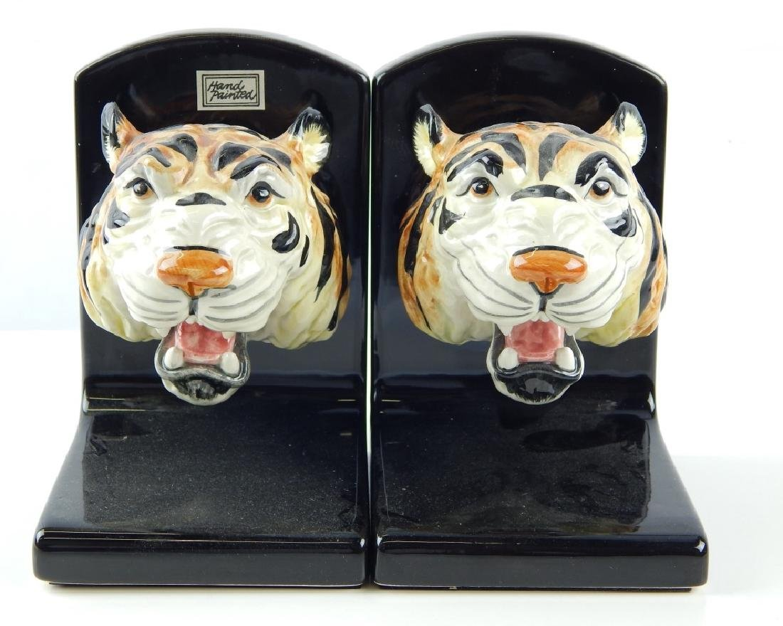 2 FITZ & FLOYD PORCELAIN TIGER BOOKENDS