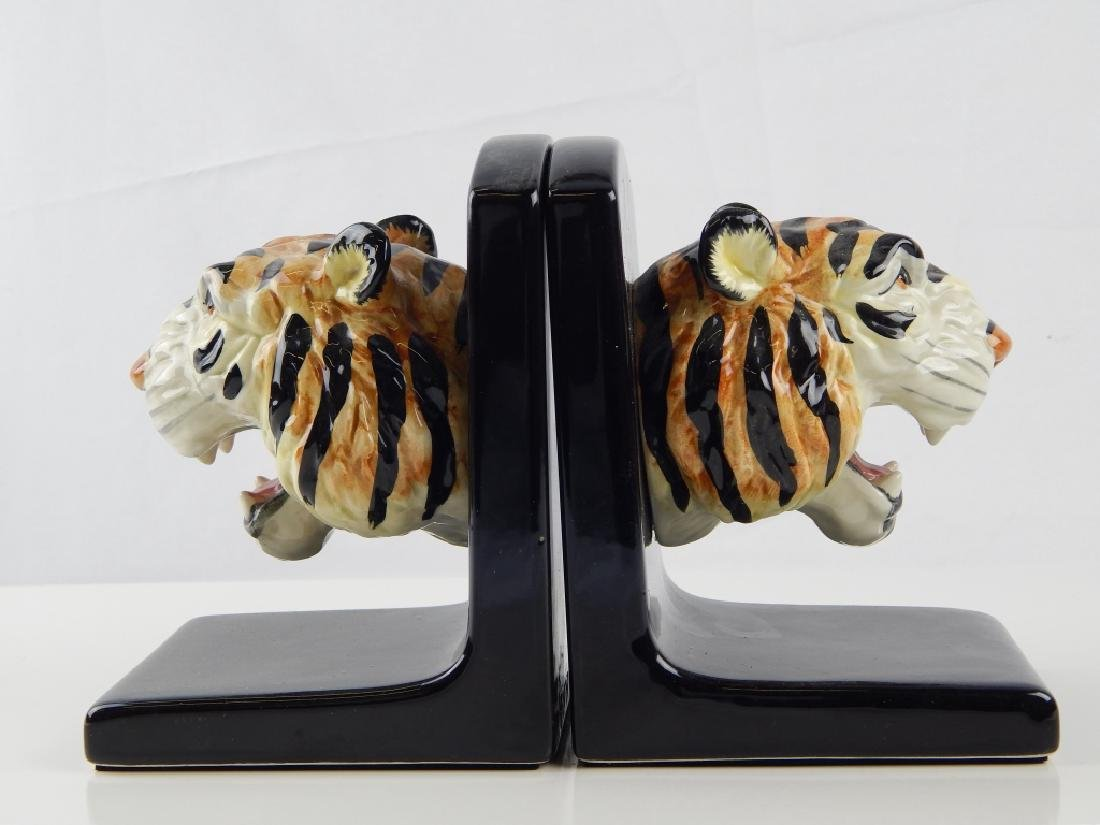 2 FITZ & FLOYD PORCELAIN TIGER BOOKENDS - 2