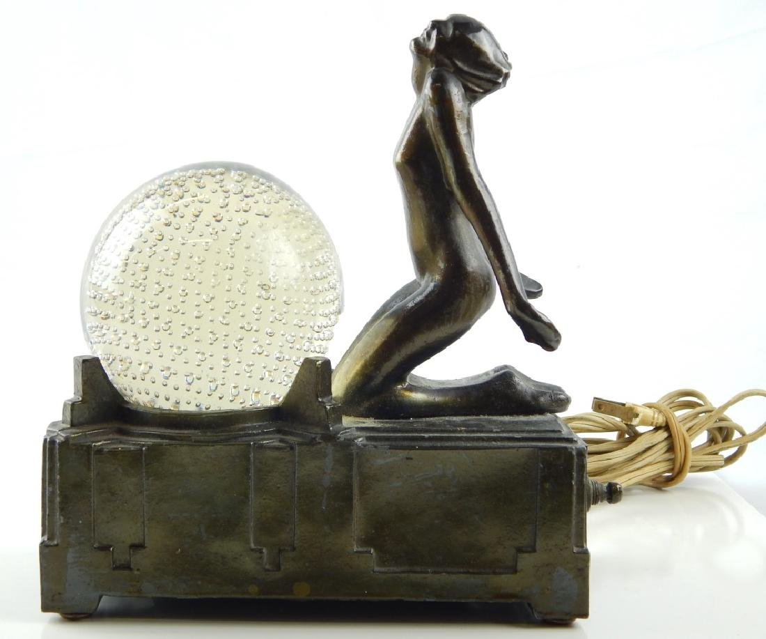 FRANKART ART DECO BRONZE TONE METAL NUDE TABLE LAM