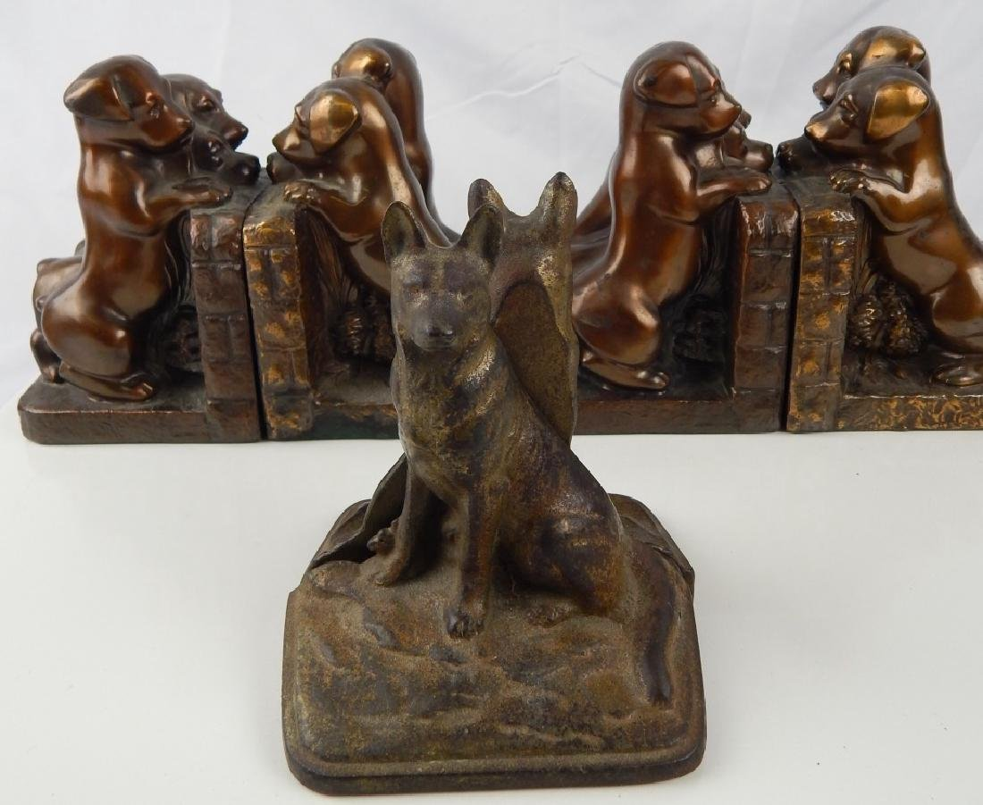 3 SET VINTAGE METAL FIGURAL DOG BOOKENDS