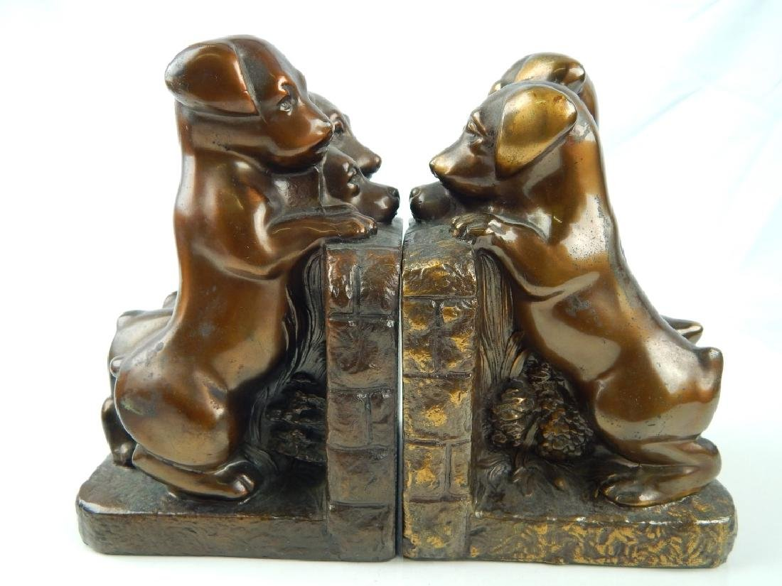 3 SET VINTAGE METAL FIGURAL DOG BOOKENDS - 2