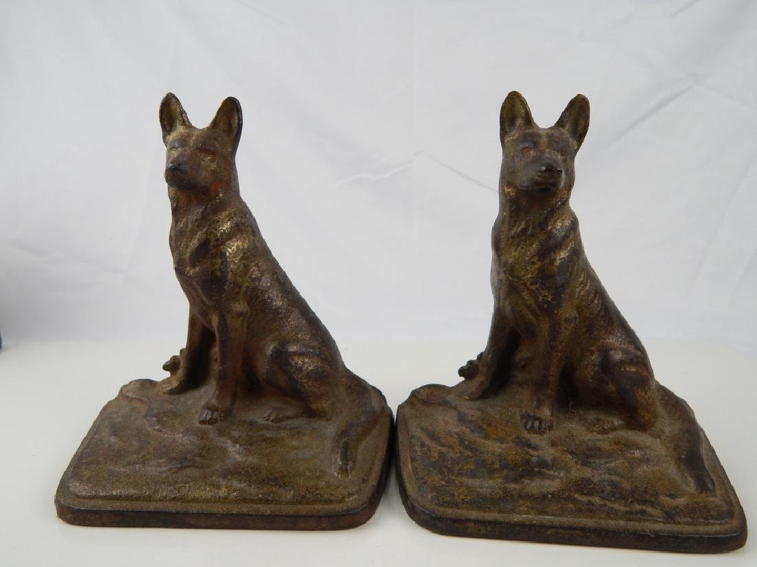 3 SET VINTAGE METAL FIGURAL DOG BOOKENDS - 4