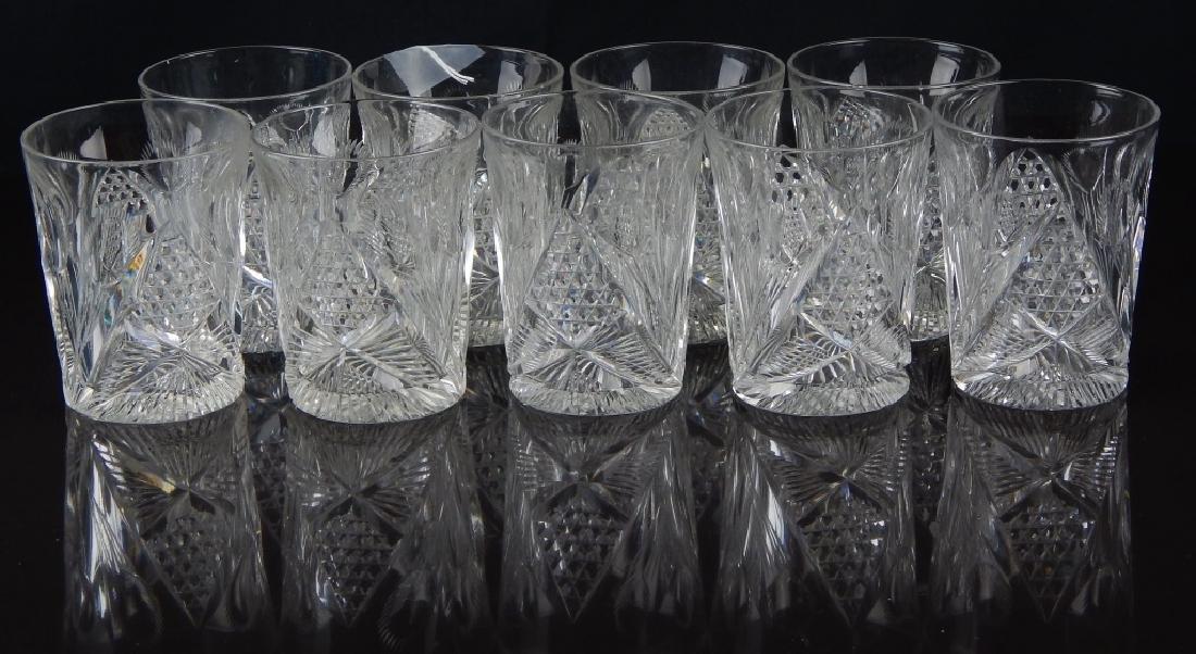 9 AMERICAN BRILLIANT CUT CRYSTAL TUBLER GLASSES