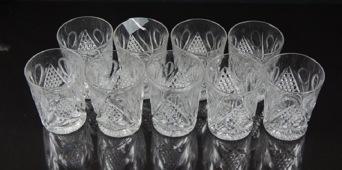 9 AMERICAN BRILLIANT CUT CRYSTAL TUBLER GLASSES - 2
