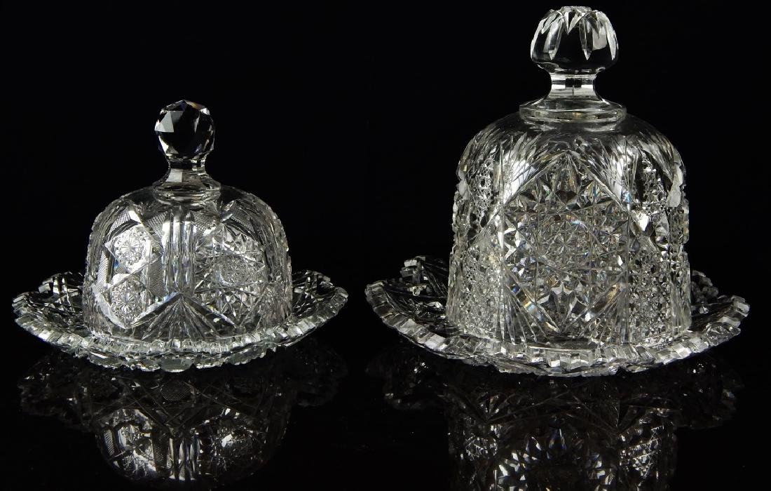 2 AMERICAN BRILLIANT CUT CRYSTAL PASTRY PLATES