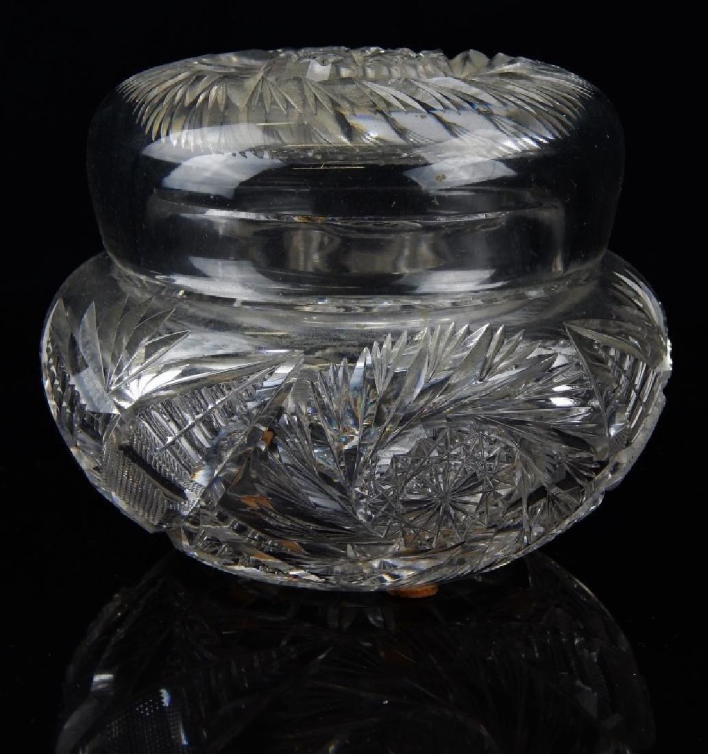 ANTIQUE CUT CRYSTAL COVERED POWDER BOX JAR