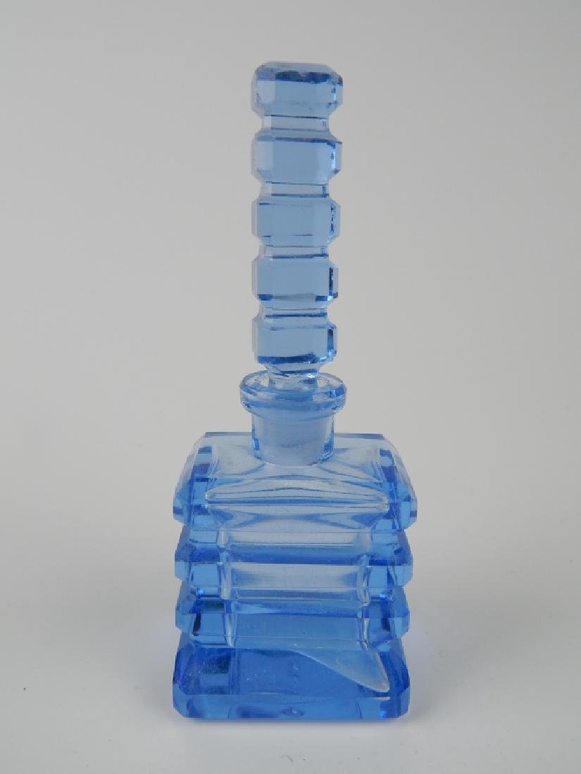 3 VINTAGE BLUE GLASS PERFUME SCENT BOTTLES - 5