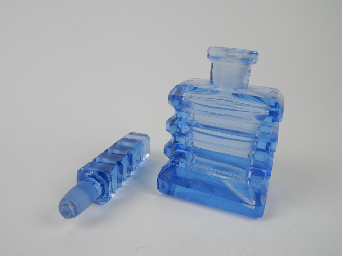 3 VINTAGE BLUE GLASS PERFUME SCENT BOTTLES - 6