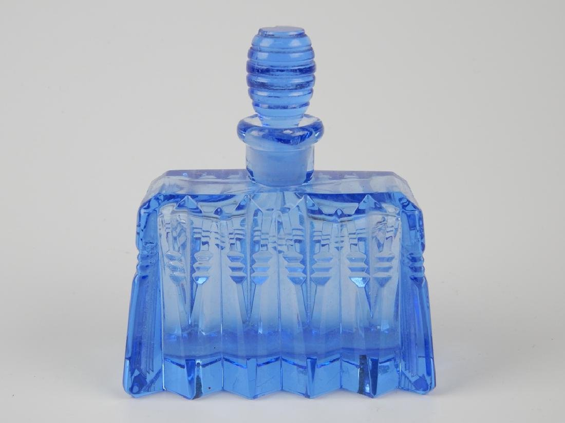 3 VINTAGE BLUE GLASS PERFUME SCENT BOTTLES - 9