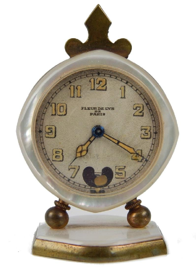 LENOX WATCH Co FLEUR DE LYX MOP BOUDOIR CLOCK