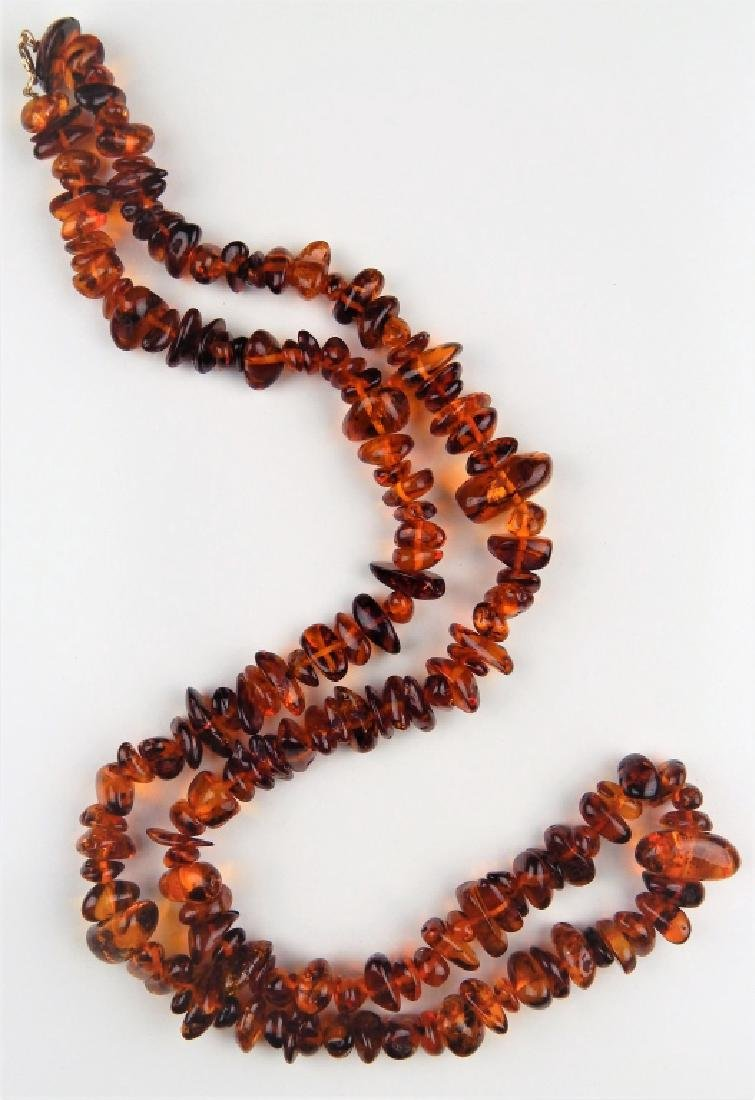 LARGE AMBER NECKLACE W/ 14K CLASP - 2