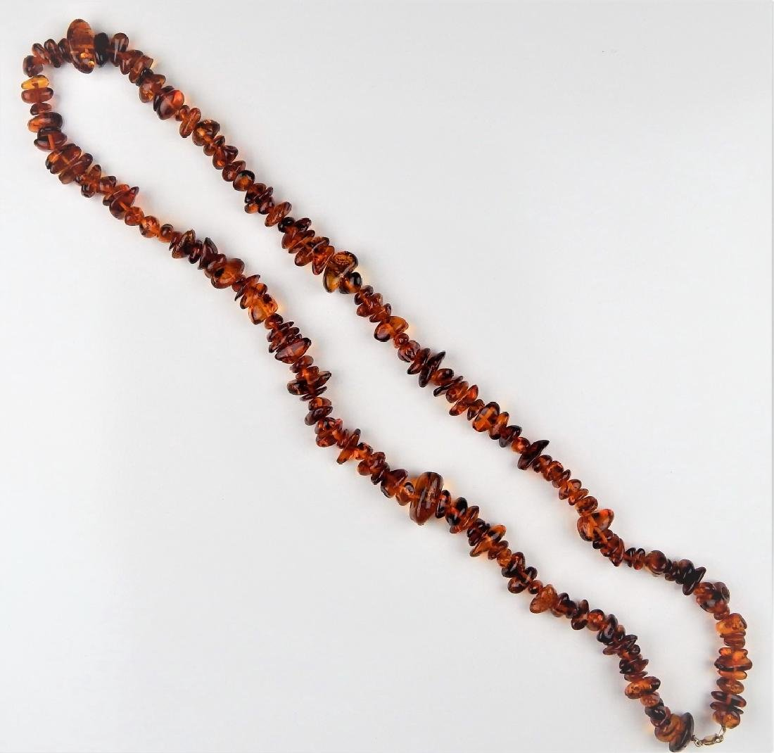 LARGE AMBER NECKLACE W/ 14K CLASP - 3