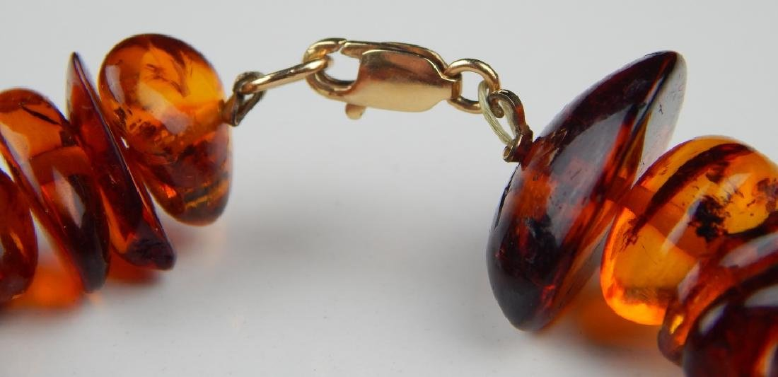 LARGE AMBER NECKLACE W/ 14K CLASP - 4