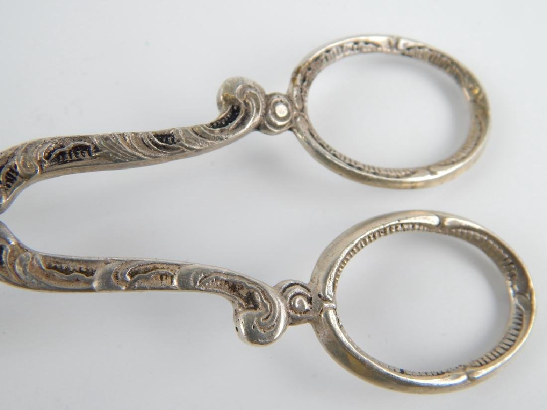 ANTIQUE ITALIAN SILVER SCROLLED PASTRY TONGS - 3