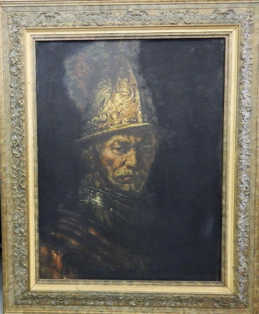 OIL PAINTING ON CANVAS MAN WITH THE GOLDEN HELMET
