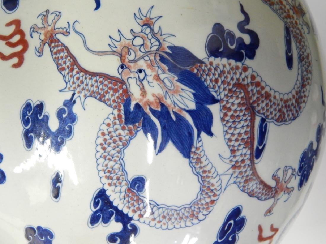 19th C CHINESE KANGXI DRAGONS BOTTLE FLOOR VASE - 3