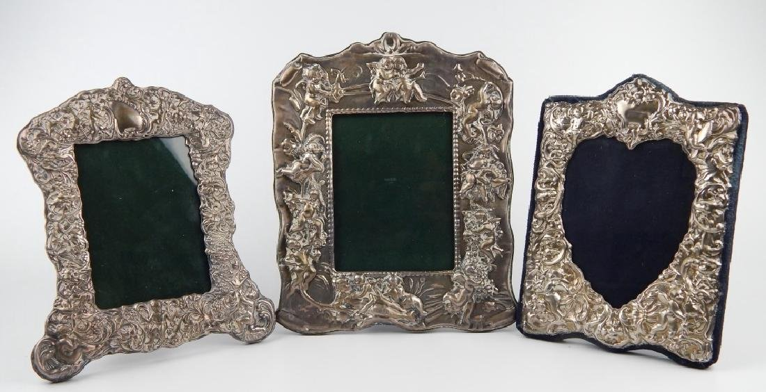 3 ENGLISH REPOUSSE STERLING SILVER PICTURE FRAMES