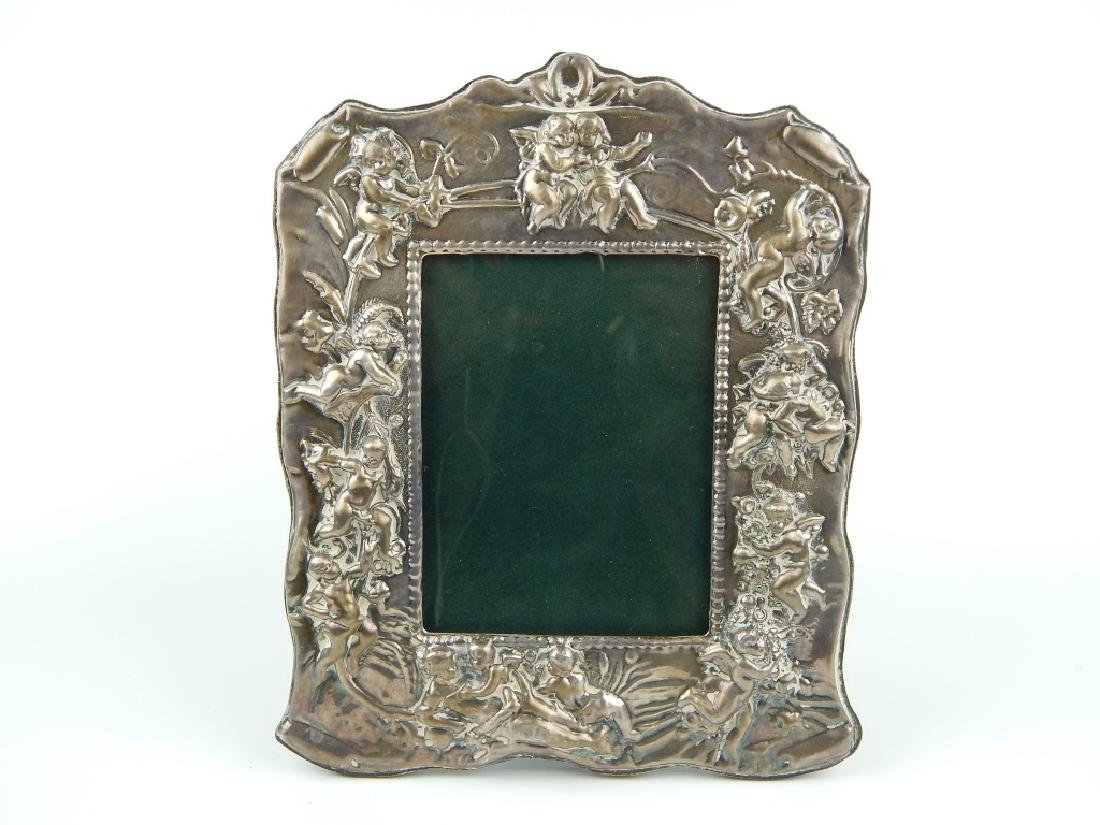 3 ENGLISH REPOUSSE STERLING SILVER PICTURE FRAMES - 2