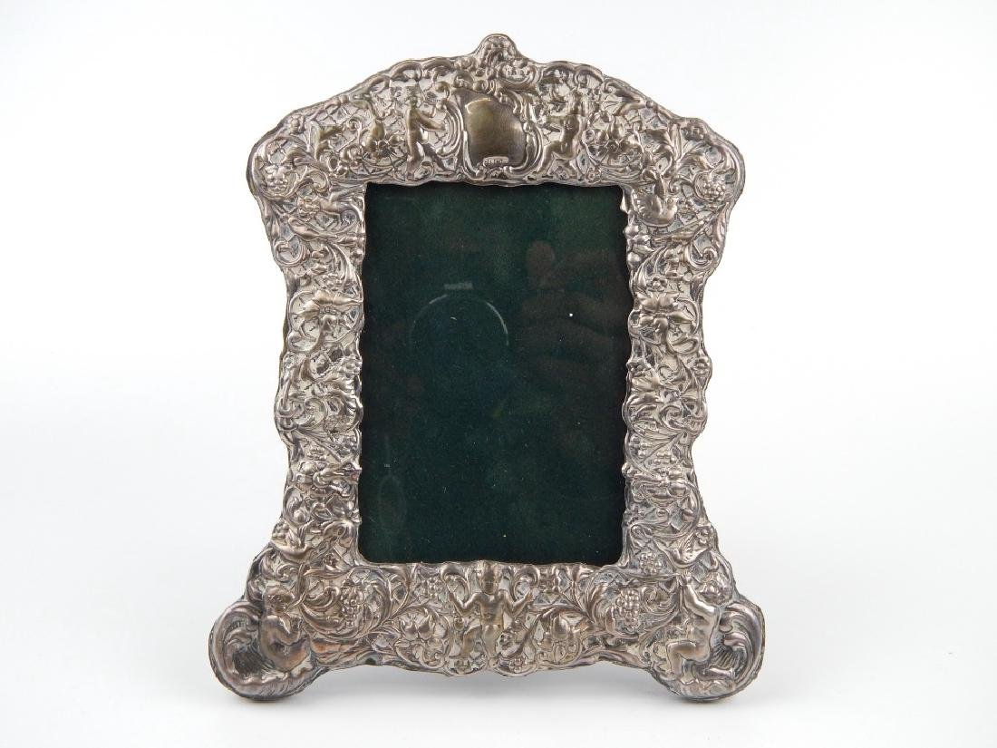 3 ENGLISH REPOUSSE STERLING SILVER PICTURE FRAMES - 4
