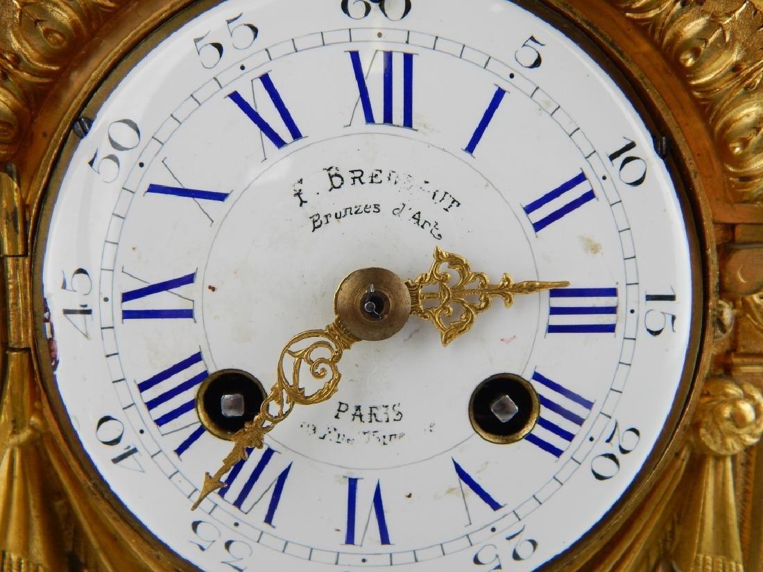 F BRENAUT ANTIQUE PARIS GILT BRONZE MANTEL CLOCK - 3