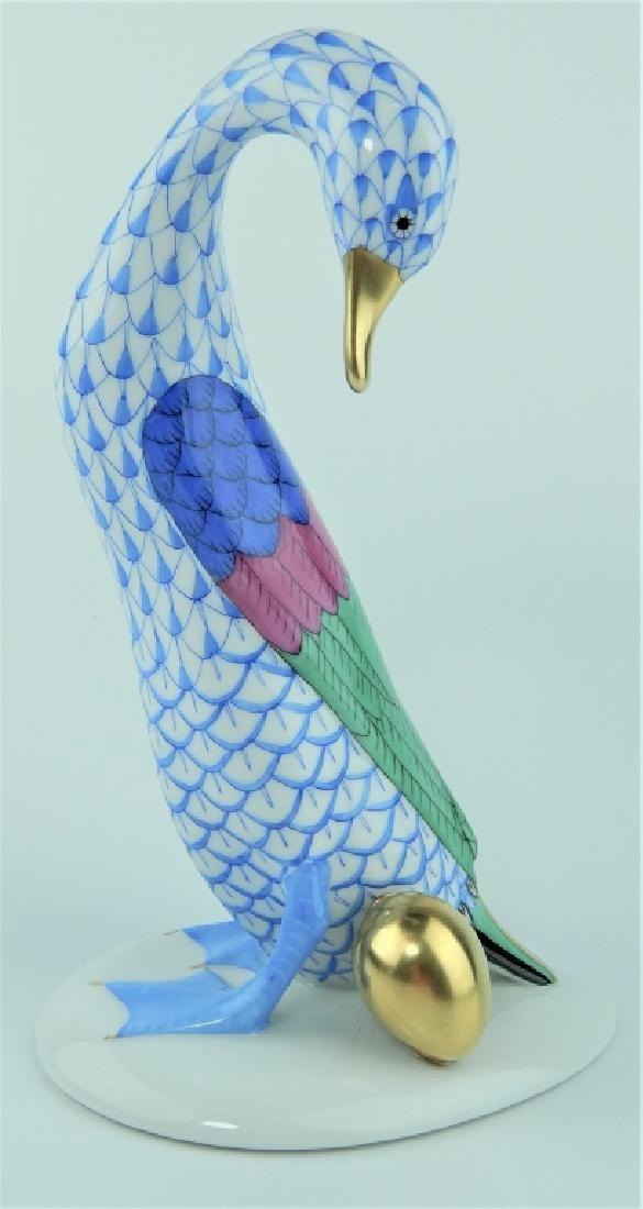 HEREND PORCELAIN BLUE FISHNET GOOSE w GOLDEN EGG
