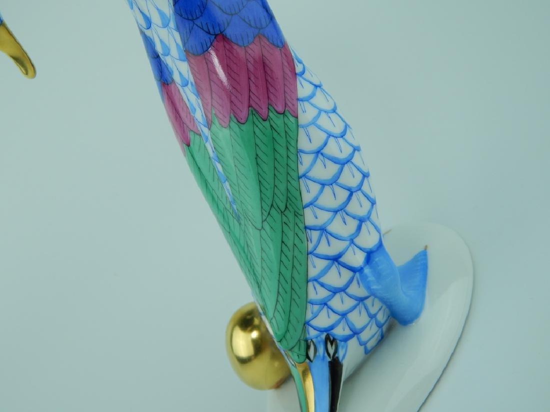 HEREND PORCELAIN BLUE FISHNET GOOSE w GOLDEN EGG - 5