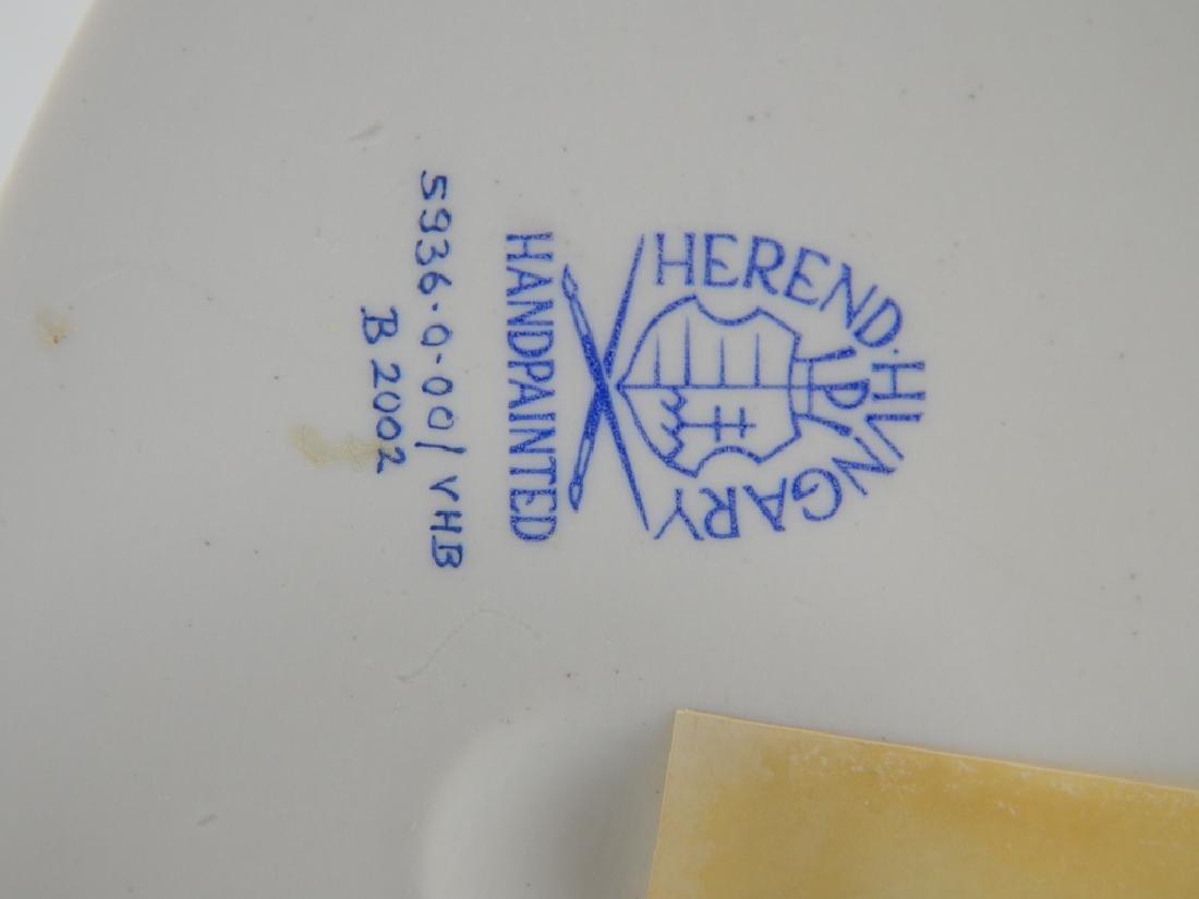 HEREND PORCELAIN BLUE FISHNET GOOSE w GOLDEN EGG - 7