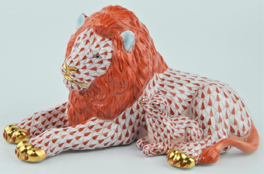HEREND RUST FISHNET LION WITH LAMB FIGURE 15670