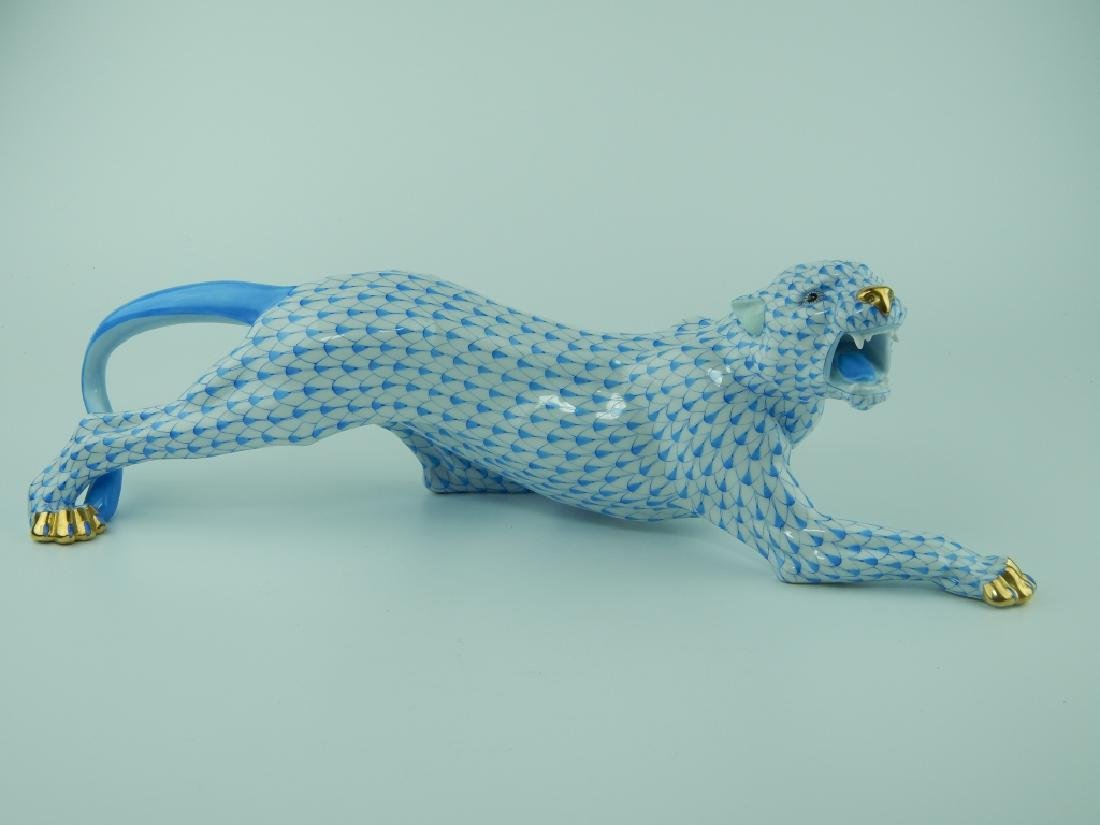 HEREND PORCELAIN BLUE FISHNET JUNGLE TIGER 5209 - 2