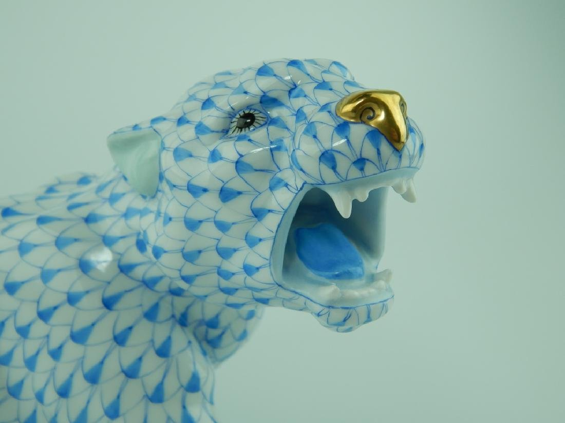 HEREND PORCELAIN BLUE FISHNET JUNGLE TIGER 5209 - 3