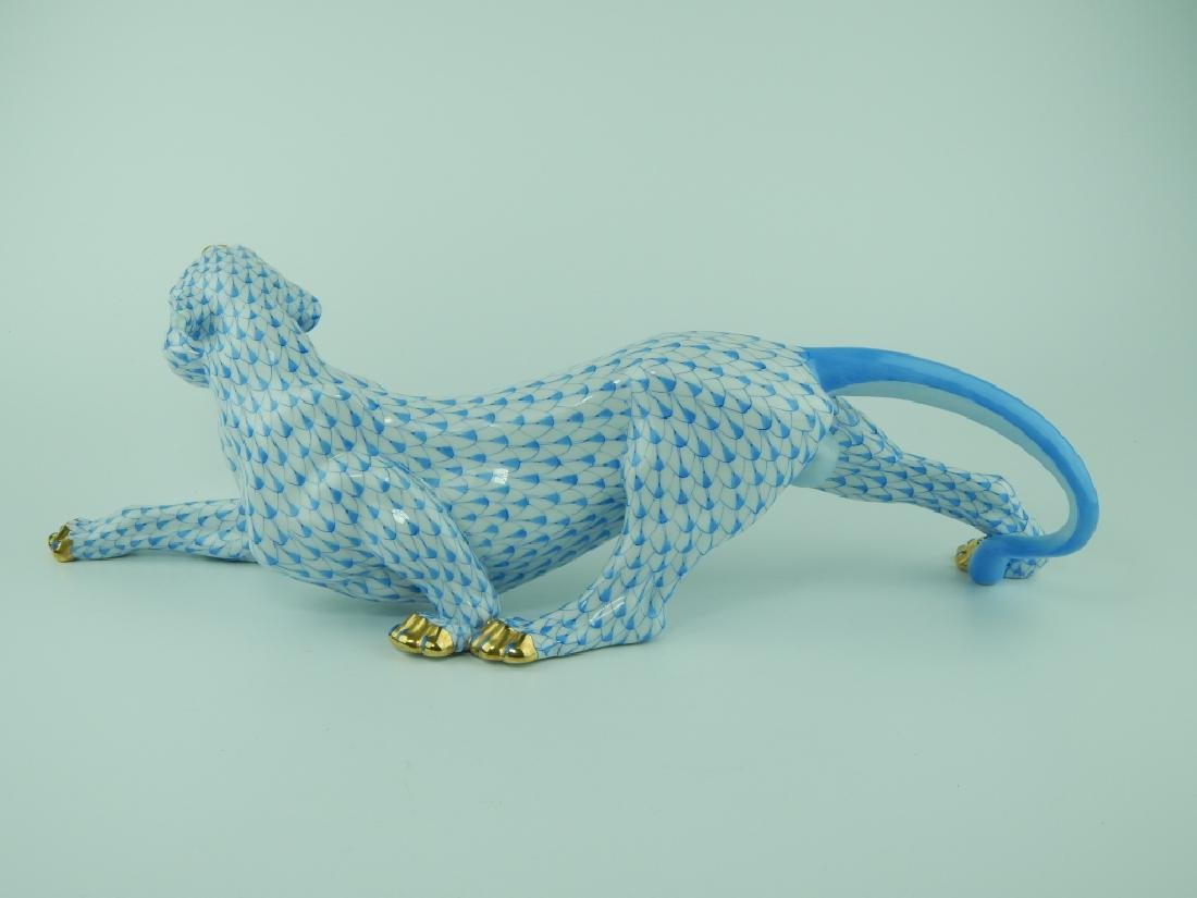 HEREND PORCELAIN BLUE FISHNET JUNGLE TIGER 5209 - 5