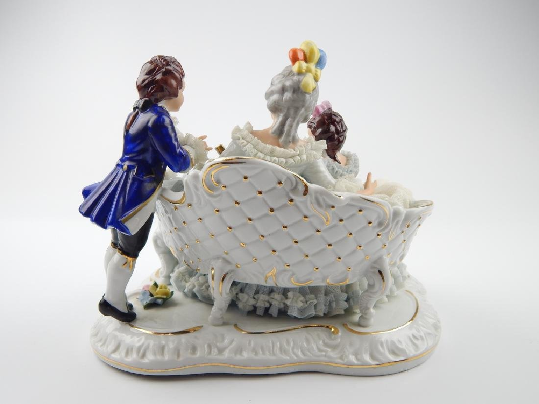 VINTAGE DRESDEN LACE PORCELAIN GROUP FIGURE - 8
