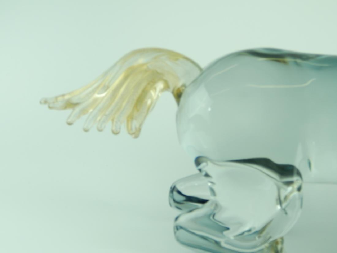 MASSIVE MURANO CLEAR TO BLACK ART GLASS HORSE - 3