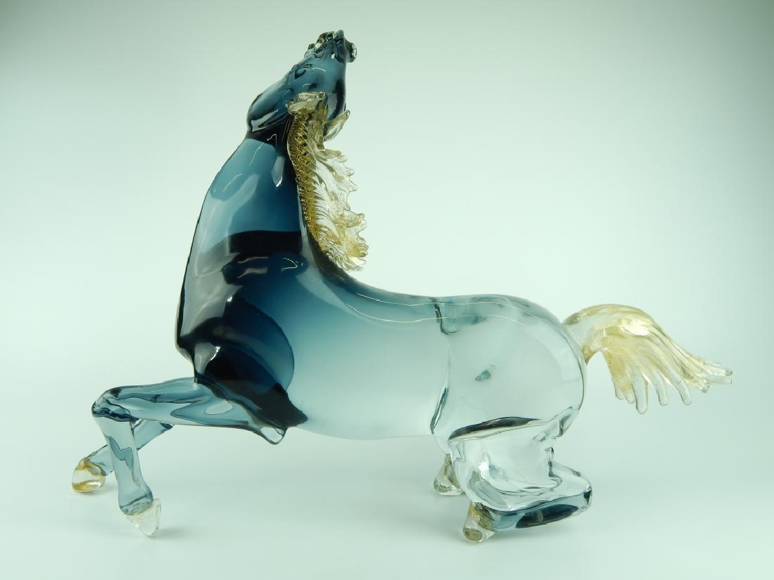 MASSIVE MURANO CLEAR TO BLACK ART GLASS HORSE - 4