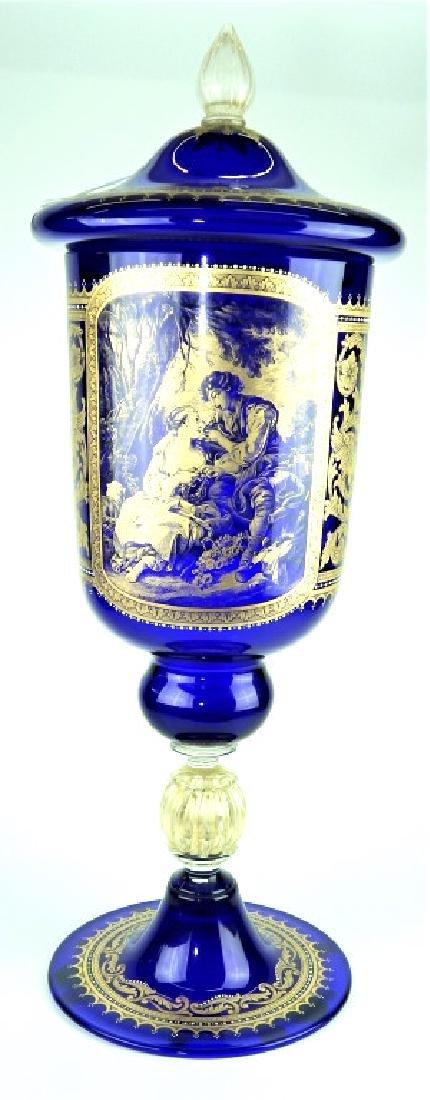 PALATIAL COBALT VENETIAN GLASS COVERED URN