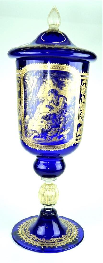 PALATIAL COBALT VENETIAN GLASS COVERED URN