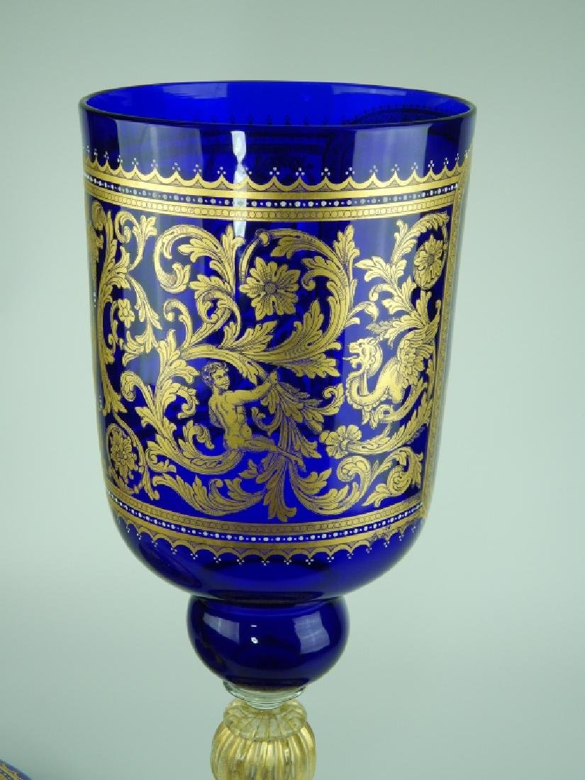 PALATIAL COBALT VENETIAN GLASS COVERED URN - 2