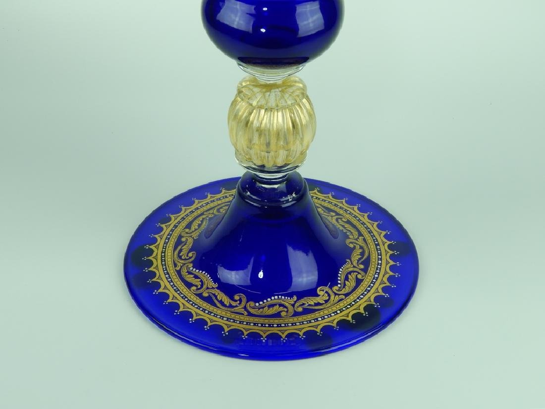 PALATIAL COBALT VENETIAN GLASS COVERED URN - 4