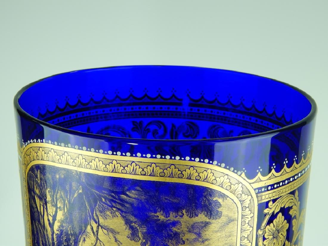 PALATIAL COBALT VENETIAN GLASS COVERED URN - 5