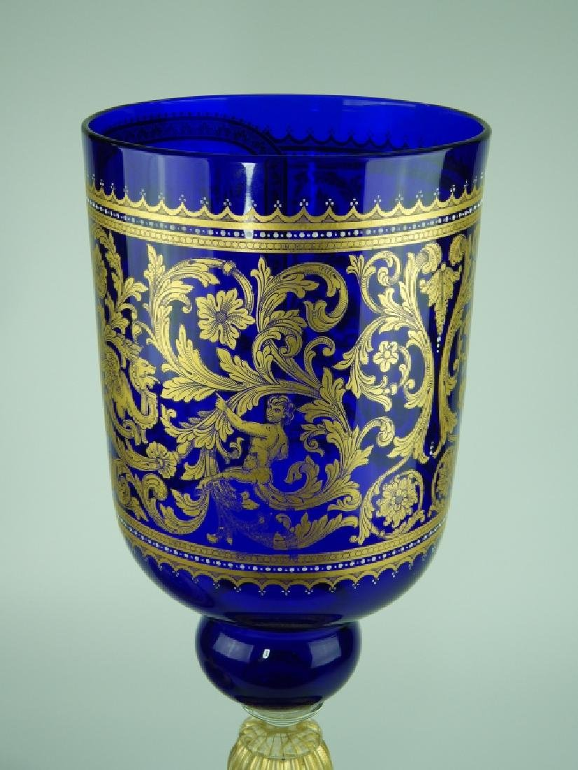 PALATIAL COBALT VENETIAN GLASS COVERED URN - 6