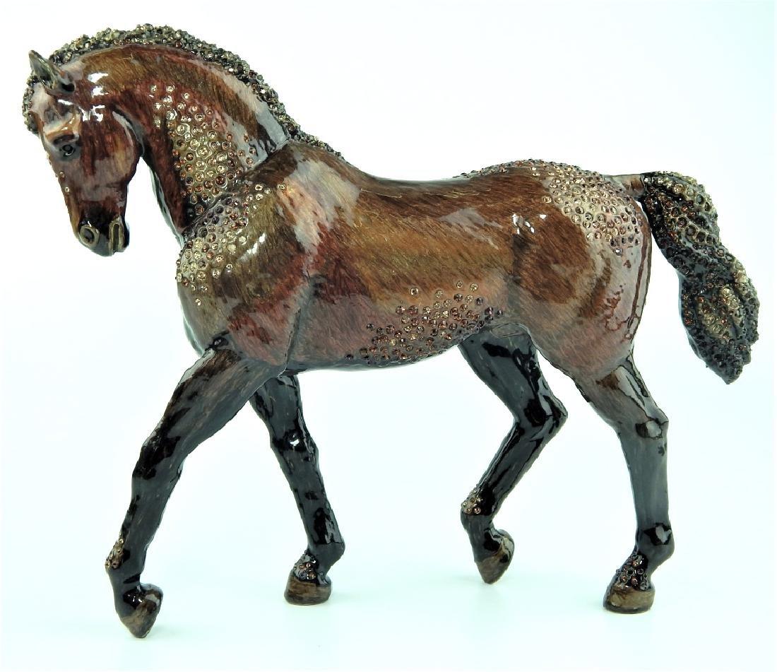 HEAVY JAY STRONGWATER ENAMELED JEWELED HORSE