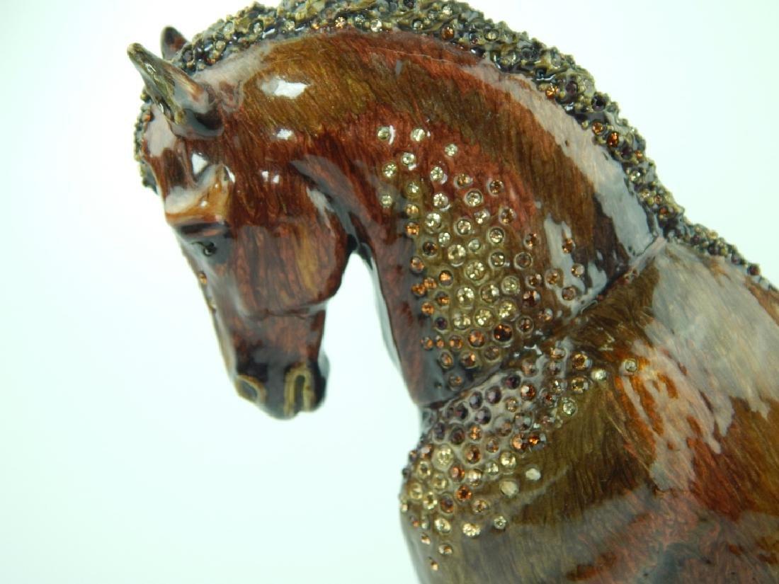 HEAVY JAY STRONGWATER ENAMELED JEWELED HORSE - 2