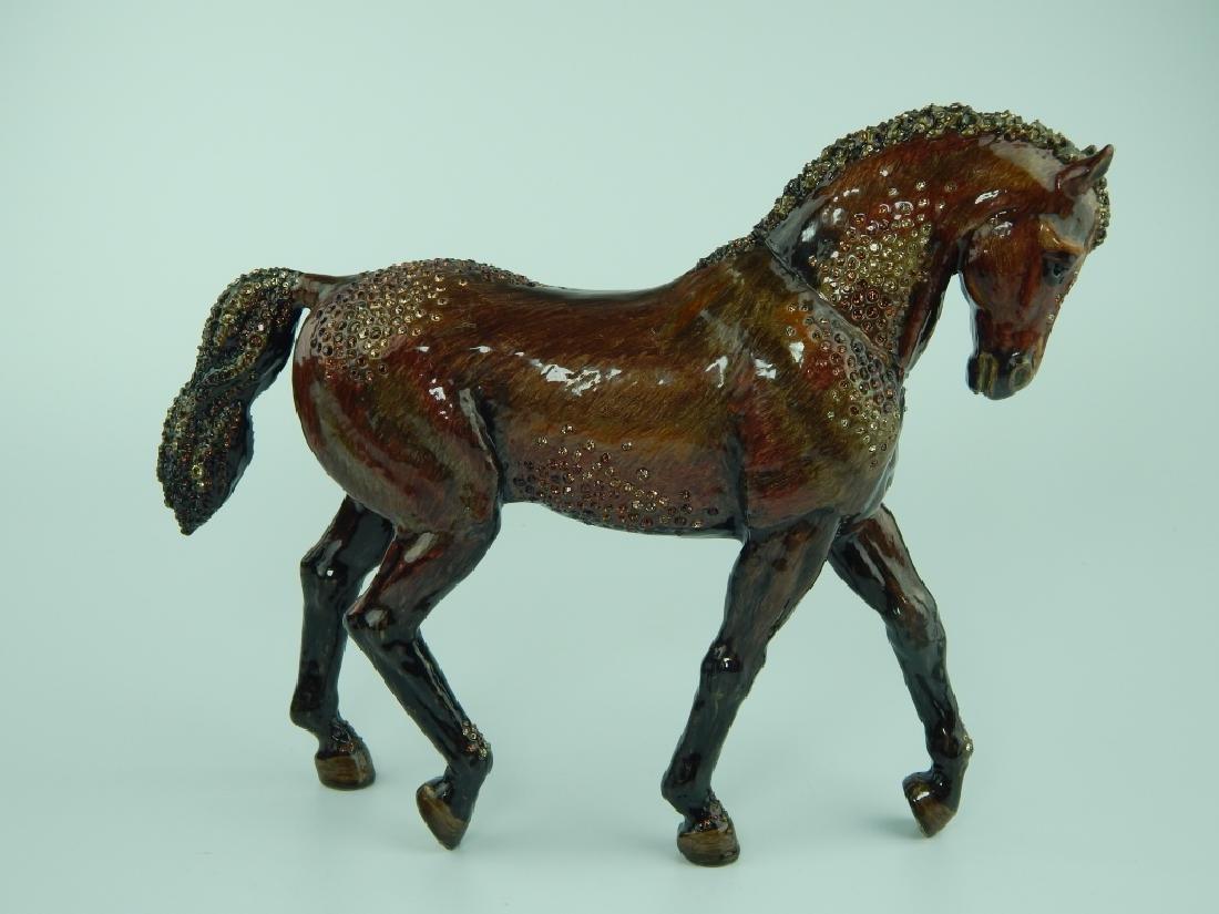 HEAVY JAY STRONGWATER ENAMELED JEWELED HORSE - 4
