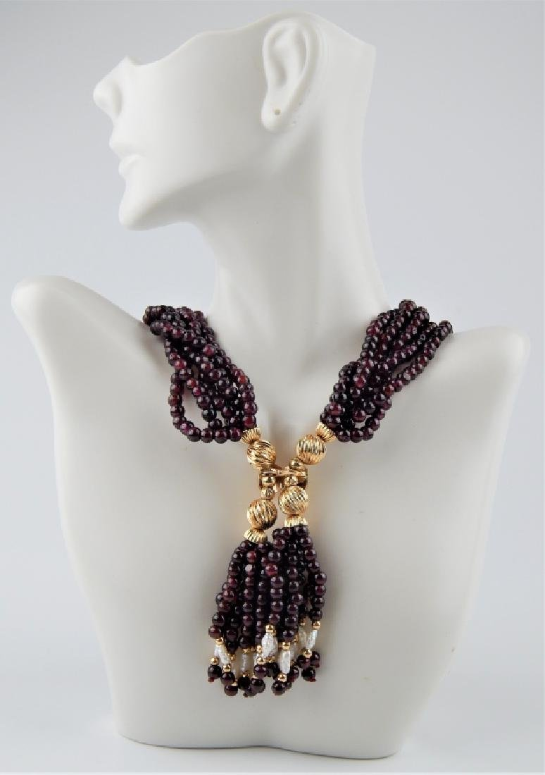 14K GENUINE GARNET PEARL 6 STRAND TASSEL NECKLACE
