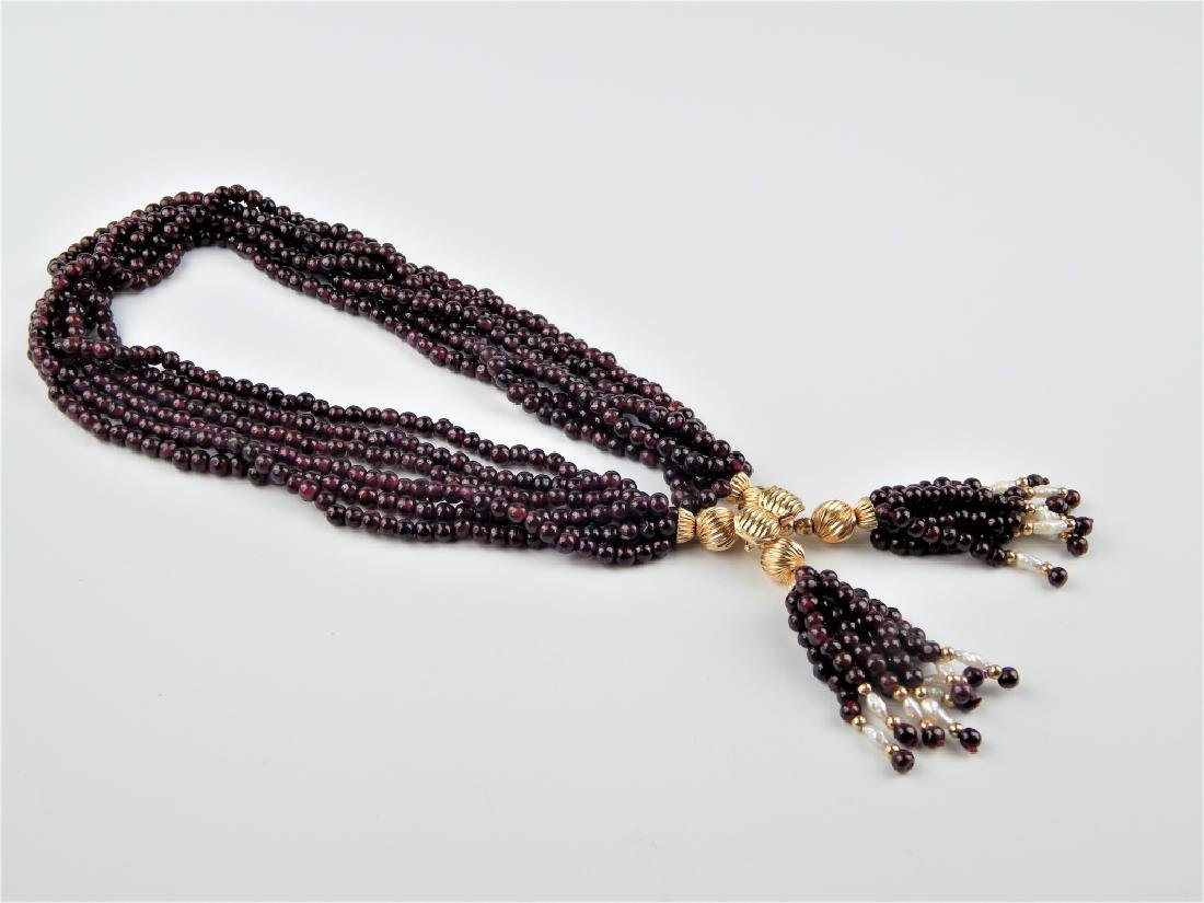 14K GENUINE GARNET PEARL 6 STRAND TASSEL NECKLACE - 2